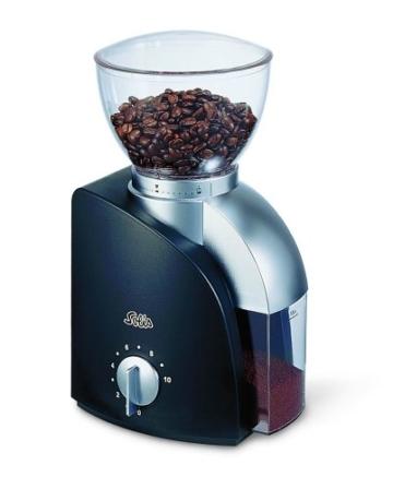 Solis Elektrische Kaffeemühle, 1 bis 10 Tassen, 13 Mahlstufen, Antistatikeinrichtung, Kegelmahlwerk, Scala Classic, Schwarz, Typ 166 -